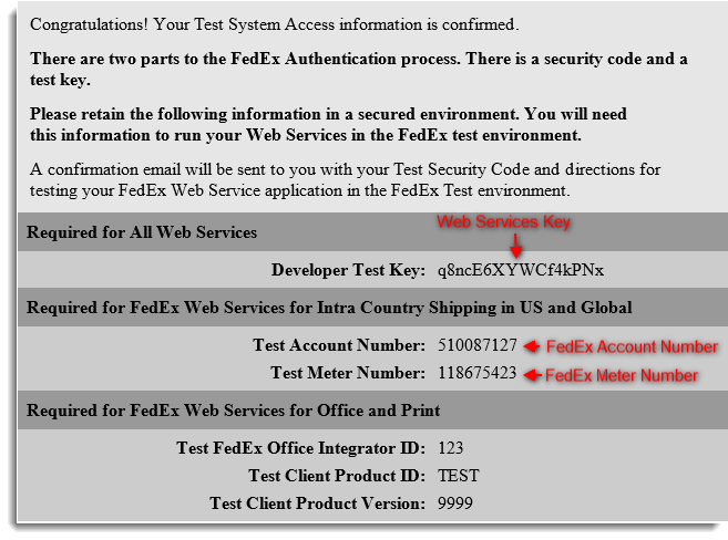 Test Credentials Informayion
