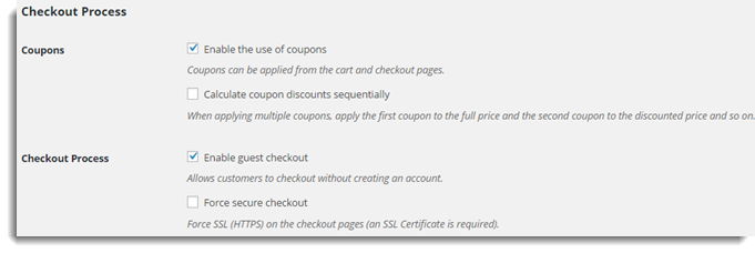 Coupon and checkout Process Settings