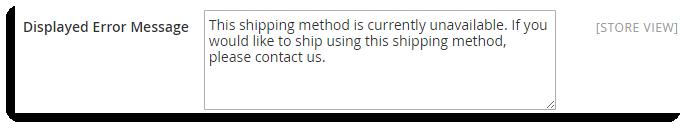 Displayed Error Message