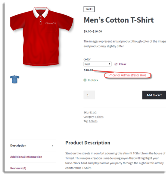 Product Page of Red Varitaion
