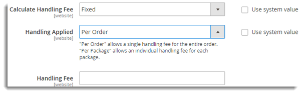 Handling Fee Settings