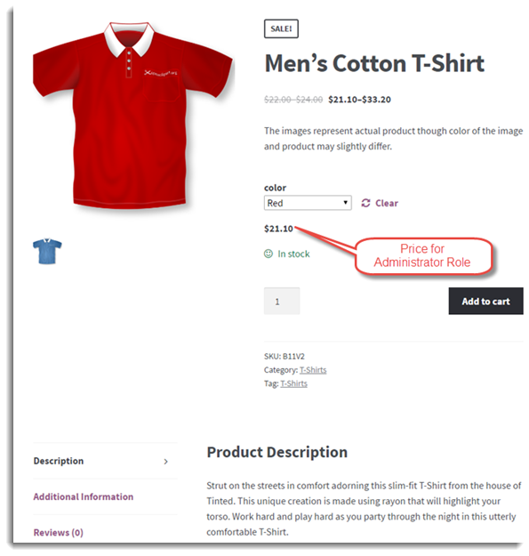 Product Page of Red Variation