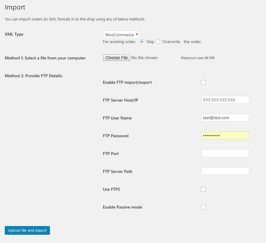 Order XML Import Page