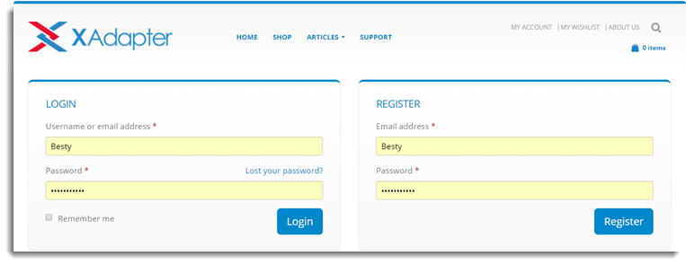 Account Login Page