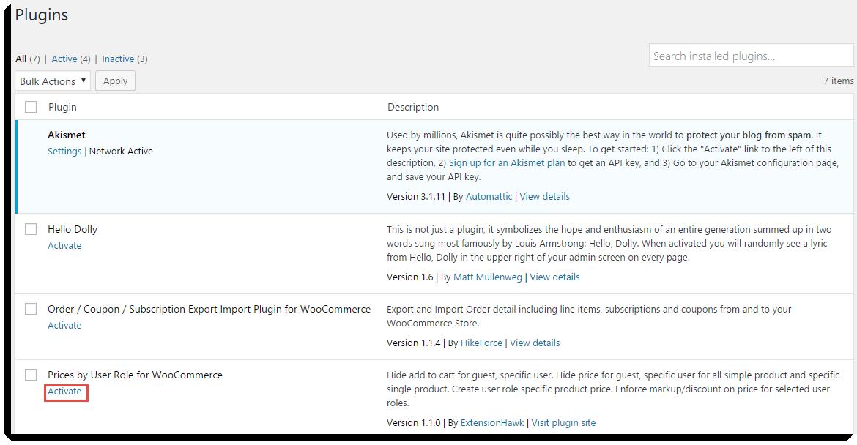 Plugins page of Individual Website