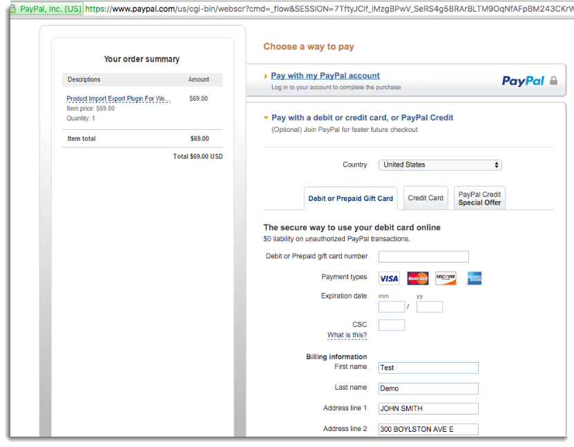 Payment using Credit Card