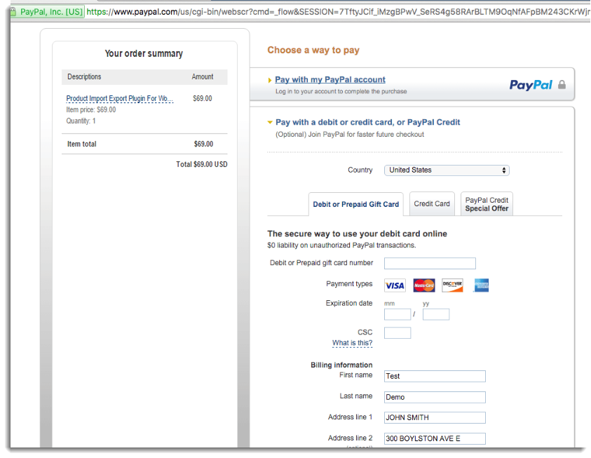 Without using Paypal Account