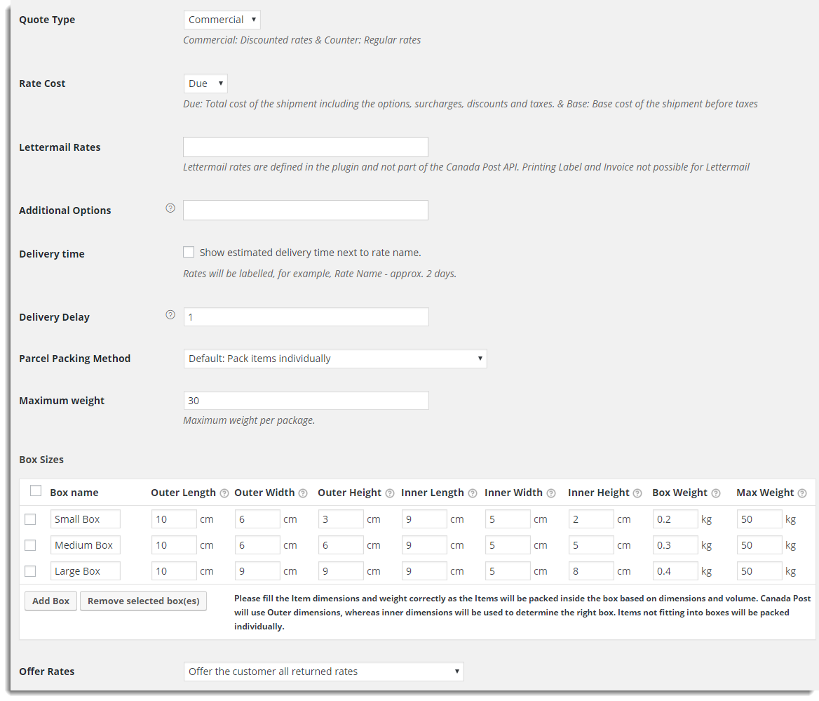 Canada Post Real Time Rate Settings