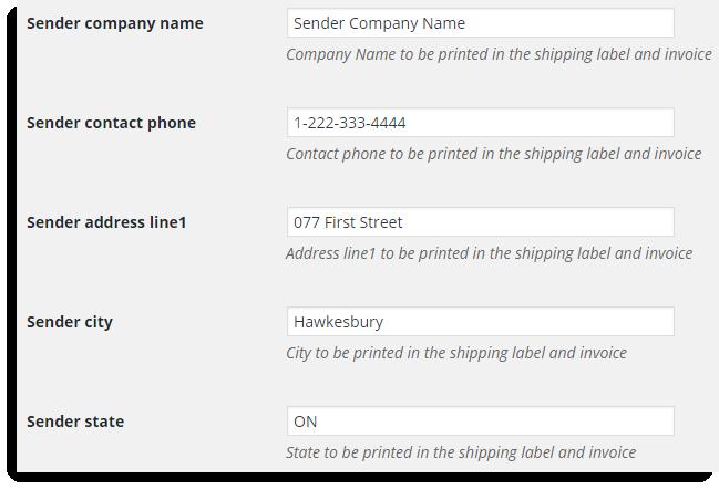 Address Settings of Sender