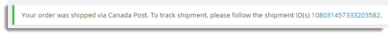 Message about Shipment Tracking