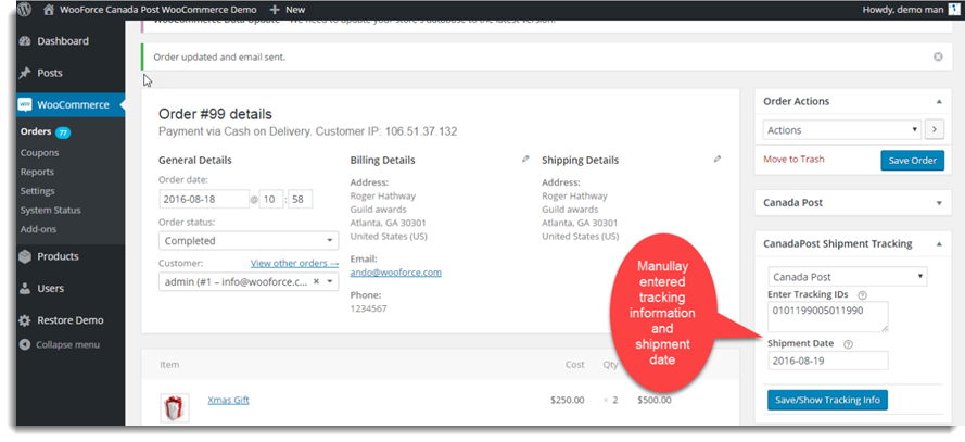 Add Tracking Number Manually
