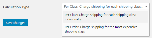 Calculation type for shipping class costs