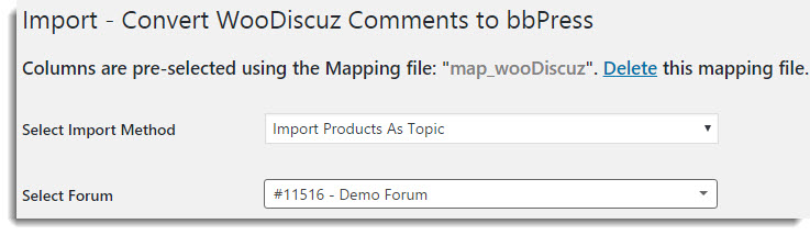 Import WooDiscuz Product comment as Topic