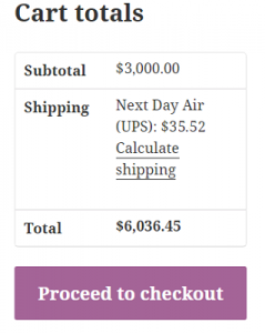 Shipping rate for 1 item on cart