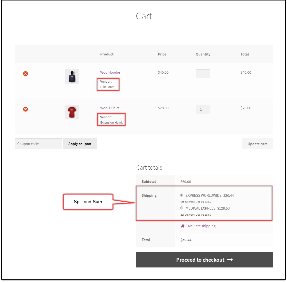 WooCommerce Multi-Vendor Add-On | Split and sum