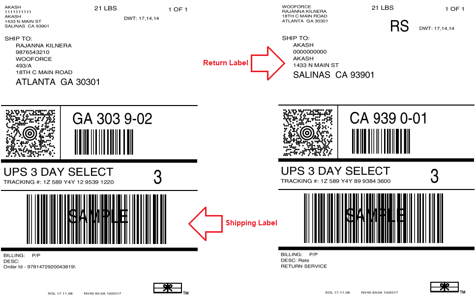 Shipping labels downloaded by customers