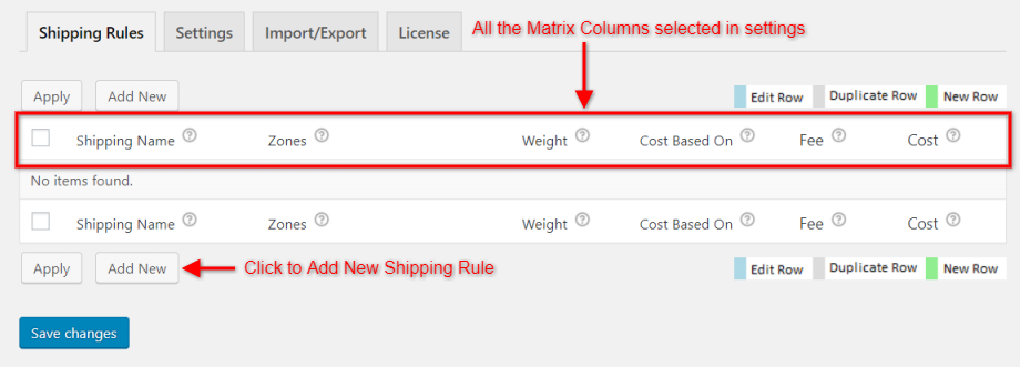 Shipping Rules Tab