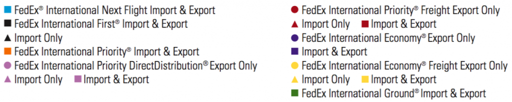 Fedex shipping method list of different regions