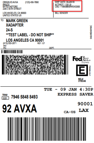 FedEx shipping label excluding External Product