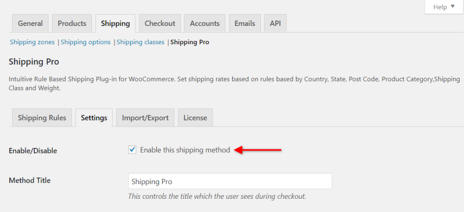 Enable Table Rate Shipping Pro as a shipping method on the Cart Page