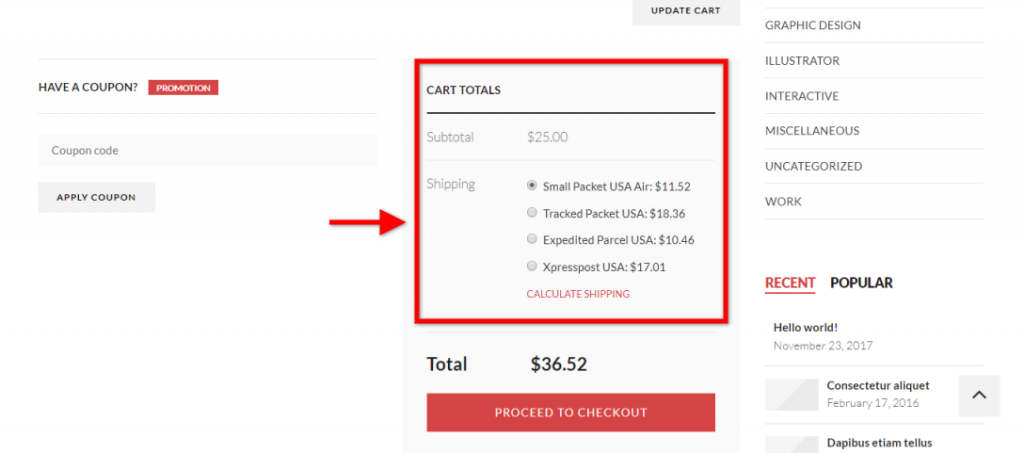 Cart Page After Customization