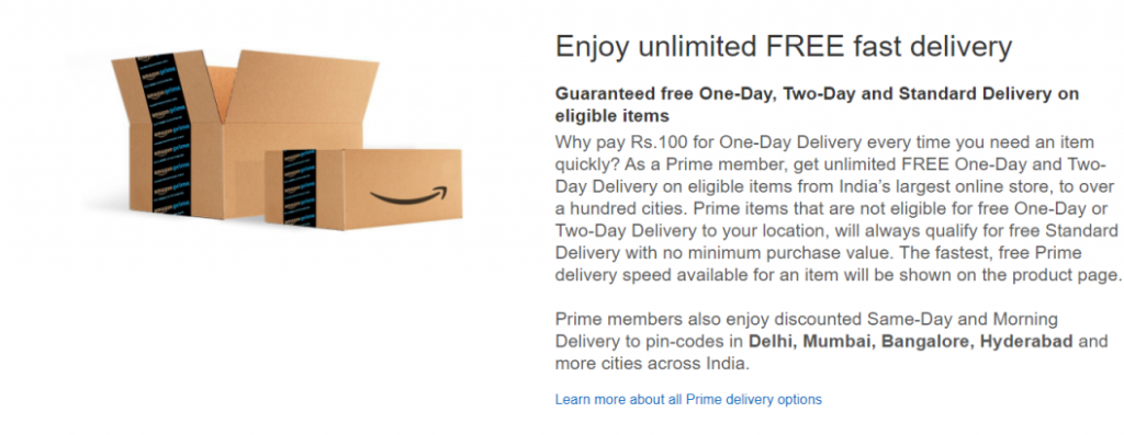 Shipping Discounts for Amazon Prime subscribers
