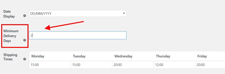 Add minimum delivery days