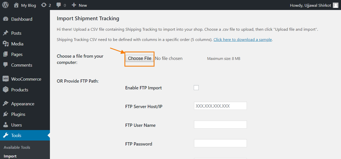 Bulk Import tracking details via CSV import