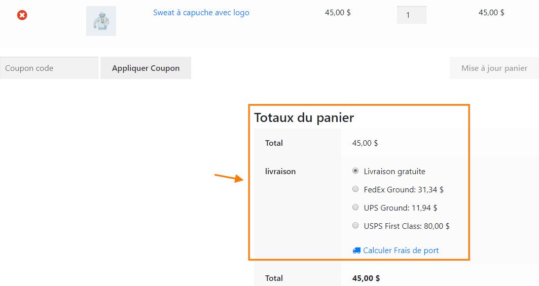 Realtime Shipping Rates Translated to French using WPML
