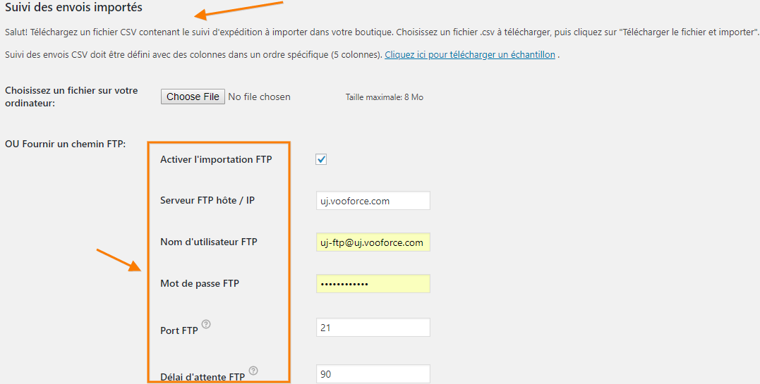 Tracking Details Import page Translated to French using WPML