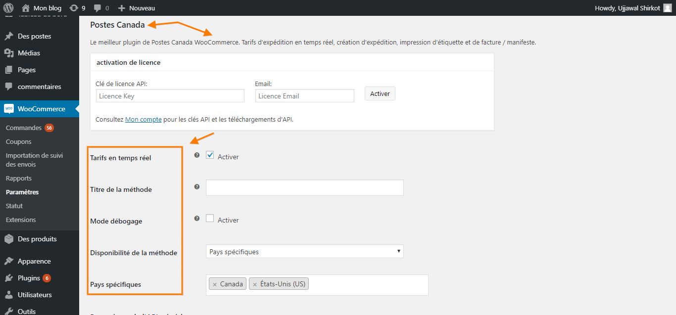 WooCommerce Canada Post plugin settings page translated to French using WPML