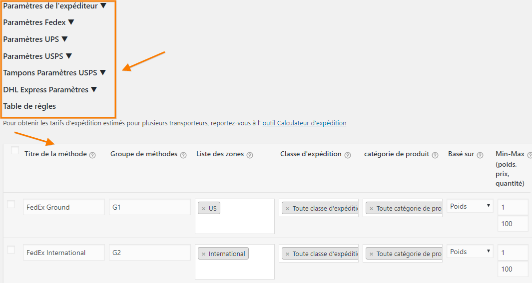 WooCommerce Multi-Carrier Shipping plugin settings page translated to French using WPML