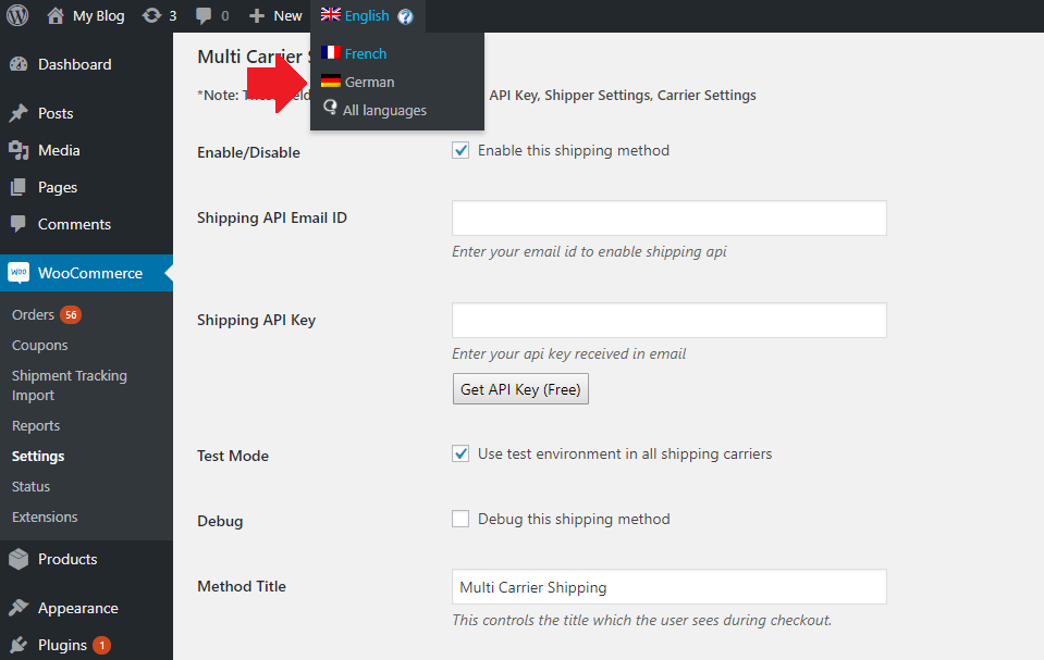 WooCommerce Multi-Carrier Shipping plugin settings