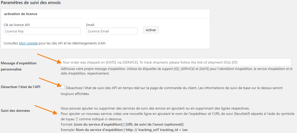 WooCommerce Shipment Tracking Pro plugin settings page translated to French using WPML