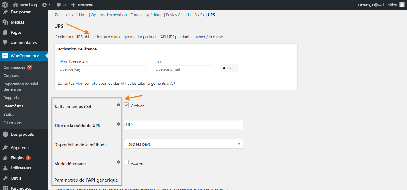 WooCommerce UPS Shipping plugin settings page translated to French using WPML
