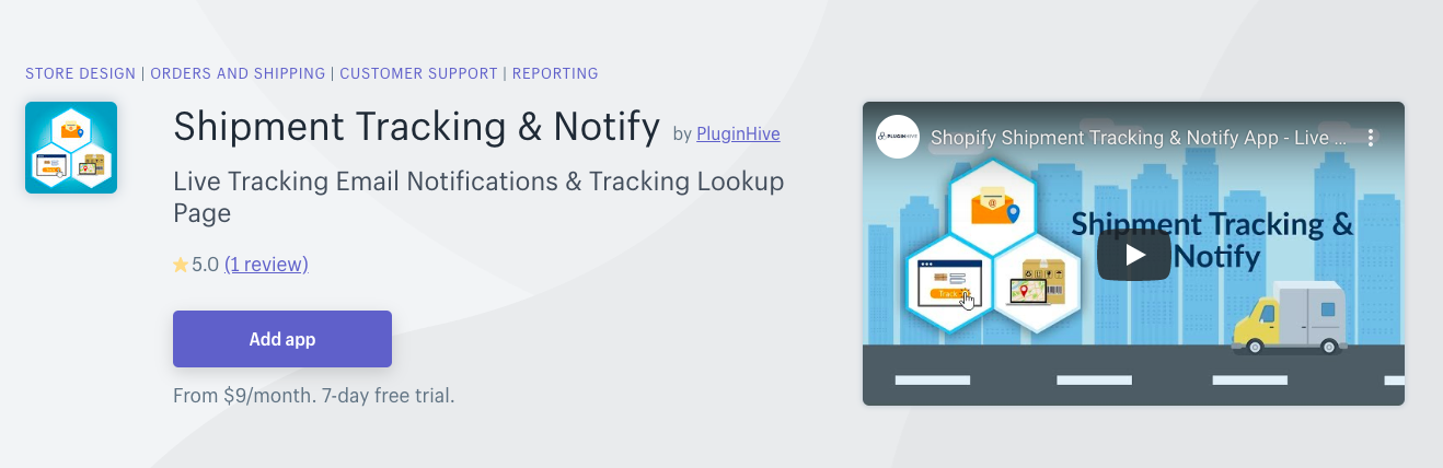 Shipment Tracking & Notify